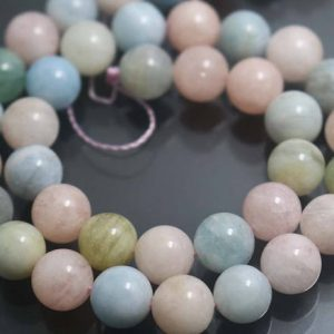 10mm Morganite Stone Beads,Natural Smooth and Round Morganite Beads,15 inches one starand