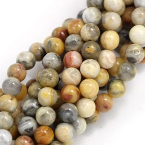 Old Crazy Lace Agate Beads – 6mm Round