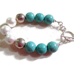 Turquoise Bracelet – White Pearl Jewelry – Sterling Silver Jewellery – Gemstone – Beaded – Chunky – Mod – Funky