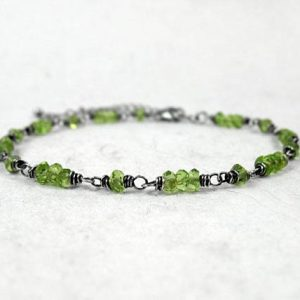 Shop Peridot Bracelets! Peridot Bracelet, August Birthstone, Sterling Silver Bracelet, Gemstone Bracelet, Gold, Heart Chakra, Dainty Bracelet, Boho, Gift for Her | Natural genuine Peridot bracelets. Buy crystal jewelry, handmade handcrafted artisan jewelry for women.  Unique handmade gift ideas. #jewelry #beadedbracelets #beadedjewelry #gift #shopping #handmadejewelry #fashion #style #product #bracelets #affiliate #ad