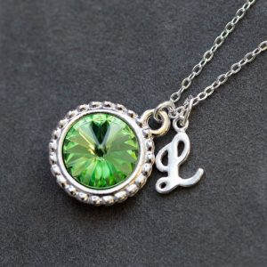 August Birthstone Necklace, Personalized Initial Jewelry, Peridot Silver Letter Necklace, New Mom Necklace