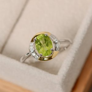 Shop Peridot Rings! Oval peridot ring, promise ring gold, yellow gold, sterling silver, August birthstone | Natural genuine Peridot rings, simple unique handcrafted gemstone rings. #rings #jewelry #shopping #gift #handmade #fashion #style #affiliate #ad