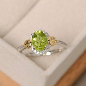 Peridot Ring, Yellow Gold, Cross, Sterling Silver, Engagement Ring