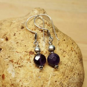 Purple Amethyst earrings. Bali silver Reiki jewelry uk. December birthstone