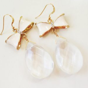 Crystal Quartz Earrings – Bow Jewelry – White Jewellery – Wedding – Bride – Dangle – Fashion – Style – Teardrop | Natural genuine Gemstone earrings. Buy handcrafted artisan wedding jewelry.  Unique handmade bridal jewelry gift ideas. #jewelry #beadedearrings #gift #crystaljewelry #shopping #handmadejewelry #wedding #bridal #earrings #affiliate #ad