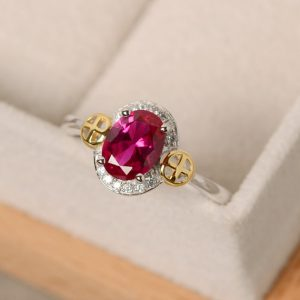 Ruby Ring Gold, Sterling Silver, Oval Cut Ruby, Cross Ring, Yellow Gold