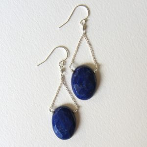 Sale 50% Off – Sale Discount Jewelry Made In Seattle – Navy Blue Lapis Lazuli Faceted Oval Shaped Stone Earrings Wire Wrapped Jewelry