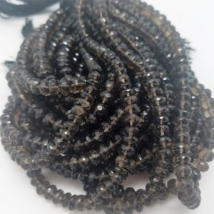Shop Smoky Quartz Beads! 6 to 7mm Smoky Quartz Handcut Faceted Rondelles, 8 inch | Natural genuine beads Smoky Quartz beads for beading and jewelry making.  #jewelry #beads #beadedjewelry #diyjewelry #jewelrymaking #beadstore #beading #affiliate #ad