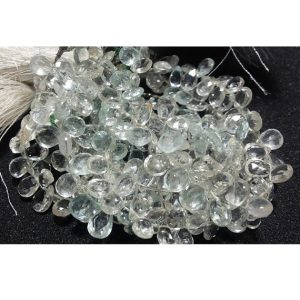 White Topaz, Faceted Pear Beads, 5x7mm Approx, 9 Pieces