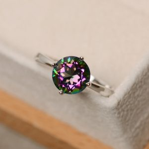 Shop Topaz Jewelry! Mystic topaz ring, sterling silver, solitaire ring,  rainbow topaz ring | Natural genuine gemstone jewelry in modern, chic, boho, elegant styles. Buy crystal handmade handcrafted artisan art jewelry & accessories. #jewelry #beaded #beadedjewelry #product #gifts #shopping #style #fashion #product