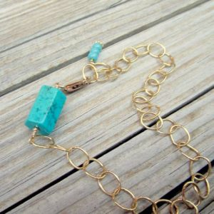 Turquoise Bracelet – Yellow Gold Jewelry – Simple Everyday – Gemstone – Chain Jewellery – Unique B-74