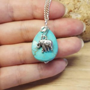 Turquoise Elephant Necklace. Crystal Reiki Jewelry Uk. December Birthstone Necklace. Silver Plated Charm Necklace