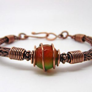 Shop Agate Bracelets! Agate Wire Wrapped Bracelet, Viking Knit Bangle, Agate Jewellery | Natural genuine Agate bracelets. Buy crystal jewelry, handmade handcrafted artisan jewelry for women.  Unique handmade gift ideas. #jewelry #beadedbracelets #beadedjewelry #gift #shopping #handmadejewelry #fashion #style #product #bracelets #affiliate #ad