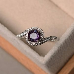 Shop Alexandrite Rings! Lab Alexandrite Ring, Wedding Ring, Round Cut Gemstone, Sterling Silver Ring, Color Change Gemstone Ring, June Birthstone Ring | Natural genuine Alexandrite rings, simple unique alternative gemstone engagement rings. #rings #jewelry #bridal #wedding #jewelryaccessories #engagementrings #weddingideas #affiliate #ad