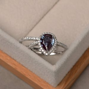 Shop Alexandrite Jewelry! Alexandrite ring silver, pear cut alexandrite , engagement ring,June birthstone gemstone ring,silver | Natural genuine Alexandrite jewelry. Buy handcrafted artisan wedding jewelry.  Unique handmade bridal jewelry gift ideas. #jewelry #beadedjewelry #gift #crystaljewelry #shopping #handmadejewelry #wedding #bridal #jewelry #affiliate #ad