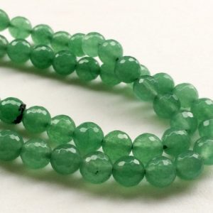 Wholesale 5 Strands Green Aventurine Beads, Natural Green Aventurine Faceted Round Balls, Aventurine Necklace, 8mm, 14 Inch – Rama18