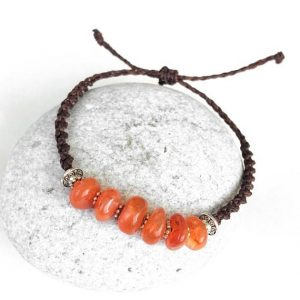 Carnelian Bracelet, Carnelian Stones Macrame Bracelet, Orange Stone, Natural Gemstones, Orange And Brown, Adjustable Bracelet, Waterproof