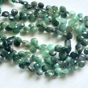 Emerald Beads, Natural Emerald Faceted Heart Briolettes, Emerald Necklace, 8mm, 8 Inch, 48 Pcs – Aga110