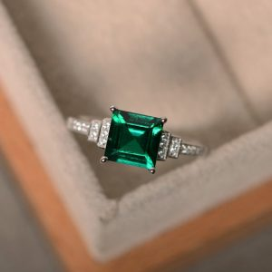 Shop Emerald Jewelry! Lab created emerald ring, sterling silver, square cut engagement ring, May birthstone ring, promise ring | Natural genuine Emerald jewelry. Buy handcrafted artisan wedding jewelry.  Unique handmade bridal jewelry gift ideas. #jewelry #beadedjewelry #gift #crystaljewelry #shopping #handmadejewelry #wedding #bridal #jewelry #affiliate #ad