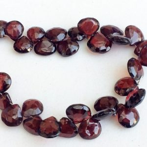 Garnet Beads, Garnet Faceted Heart Briolettes, Garnet Stone, Garnet Necklace, 7-9mm, 3.5 Inch, 19 Pcs – Ks3156