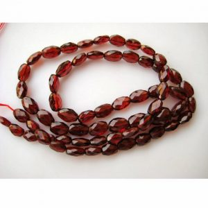 Garnet Beads, Mozambique Garnet, Oval Beads, Faceted Beads, 7mm To 8mm Beads, 7 Inch Half Strand, 25 Pieces Approx.