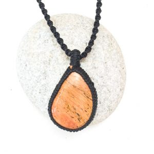 Jasper Macrame Necklace, Orange Jasper Necklace, Irregular Teardrop Shape, Asymmetric Jasper, Men's Necklace, Boho, Surf, Handmade, Rustic