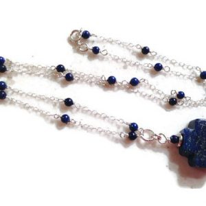 Lapis Necklace – Navy Blue Jewellery – Sterling Silver Jewelry – Gemstone – Celtic Cross Pendant – Fashion – Chic – Chain