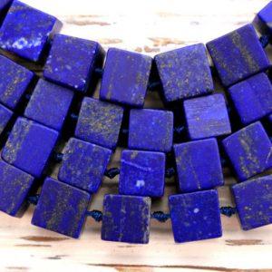 Matte Lapis Lazuli 8.5-10mm Cubic / Cube Beads (amazing Blue Colour With Gold Sparkles) (etb00034)