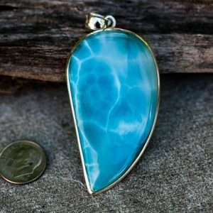 Shop Larimar Necklaces! Larmiar Pendant – Larimar & Sterling Silver pendant – Little Larimar – Blue Pectolite Pendant – Larimar necklace – Beautiful Little Larimar | Natural genuine Larimar necklaces. Buy crystal jewelry, handmade handcrafted artisan jewelry for women.  Unique handmade gift ideas. #jewelry #beadednecklaces #beadedjewelry #gift #shopping #handmadejewelry #fashion #style #product #necklaces #affiliate #ad