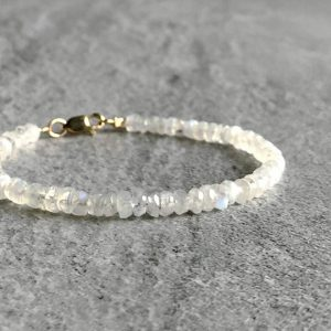 Rainbow Moonstone Bracelet | Silver or Gold Clasp | White Gemstone Bracelet for Women, Men | Faceted Moonstone Jewelry | Natural genuine Array jewelry. Buy crystal jewelry, handmade handcrafted artisan jewelry for women.  Unique handmade gift ideas. #jewelry #beadedjewelry #beadedjewelry #gift #shopping #handmadejewelry #fashion #style #product #jewelry #affiliate #ad