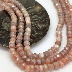 Shop Moonstone Beads! Chocolate Or Peach Moonstone Faceted Silvered Rondelle Round Beads 4-6 Mm Approx Moonstone Beads Glowing Moonstone Gemstone Beads | Natural genuine beads Moonstone beads for beading and jewelry making.  #jewelry #beads #beadedjewelry #diyjewelry #jewelrymaking #beadstore #beading #affiliate #ad