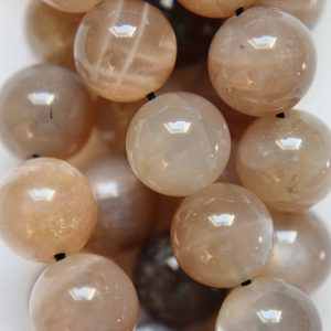 "Genuine Multicolor Moonstone  Beads – Round 10 Mm Gemstone Beads – Full Strand 15 1/2"", 39 Beads, A-quality"