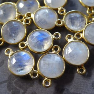 Shop Moonstone Round Beads! Moonstone Link Connector Charm Pendant, Bezel Set Gemston / 1 Pc, 9-9.5 Mm Round / Sterling Silver, Sgc Gc Gcl2.l | Natural genuine round Moonstone beads for beading and jewelry making.  #jewelry #beads #beadedjewelry #diyjewelry #jewelrymaking #beadstore #beading #affiliate #ad