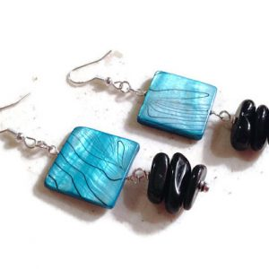 Shop Onyx Earrings! Black and Blue Earrings – Shell and Onyx Jewelry – Sterling Silver Jewellery – Beaded – Fashion – Chic – Gemstone | Natural genuine Onyx earrings. Buy crystal jewelry, handmade handcrafted artisan jewelry for women.  Unique handmade gift ideas. #jewelry #beadedearrings #beadedjewelry #gift #shopping #handmadejewelry #fashion #style #product #earrings #affiliate #ad