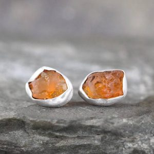 October Birthstone Earrings – Raw Fire Opal Earrings – Uncut Rough Opal Earring – Sterling Silver Stud Style – Rustic  Raw Gemstone Earrings