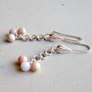 Peruvian Opal Earrings – Pink Gemstone Jewellery – October Birthstone – Sterling Silver Jewelry – 14th Wedding Anniversary – Chainmaille | Natural genuine Gemstone earrings. Buy handcrafted artisan wedding jewelry.  Unique handmade bridal jewelry gift ideas. #jewelry #beadedearrings #gift #crystaljewelry #shopping #handmadejewelry #wedding #bridal #earrings #affiliate #ad