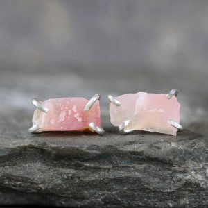 Pink Opal Earrings – Raw Uncut Rough Opal Earring – Sterling Silver Stud Style – Rustic Shape – October Birthstone – Raw Gemstone Earrings | Natural genuine Gemstone earrings. Buy crystal jewelry, handmade handcrafted artisan jewelry for women.  Unique handmade gift ideas. #jewelry #beadedearrings #beadedjewelry #gift #shopping #handmadejewelry #fashion #style #product #earrings #affiliate #ad