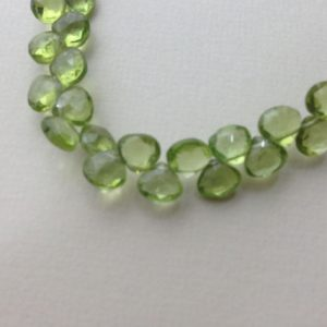 Shop Peridot Faceted Beads! NEW .. Peridot Heart Briolettes, Luxe AAA, 6-6.5 mm, Granny Apple Green Focals, faceted.. August birthstone 67 | Natural genuine faceted Peridot beads for beading and jewelry making.  #jewelry #beads #beadedjewelry #diyjewelry #jewelrymaking #beadstore #beading #affiliate #ad
