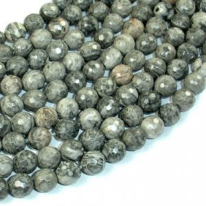 Shop Picture Jasper Faceted Beads! Gray Picture Jasper Beads, 8mm Faceted Round Beads, 15 Inch, Full strand, Approx 46 beads, Hole 1 mm, A quality (141025002) | Natural genuine faceted Picture Jasper beads for beading and jewelry making.  #jewelry #beads #beadedjewelry #diyjewelry #jewelrymaking #beadstore #beading #affiliate #ad