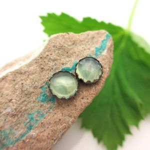 Black Silver Prehnite Cabochon Earrings, 6mm | Natural genuine Prehnite earrings. Buy crystal jewelry, handmade handcrafted artisan jewelry for women.  Unique handmade gift ideas. #jewelry #beadedearrings #beadedjewelry #gift #shopping #handmadejewelry #fashion #style #product #earrings #affiliate #ad
