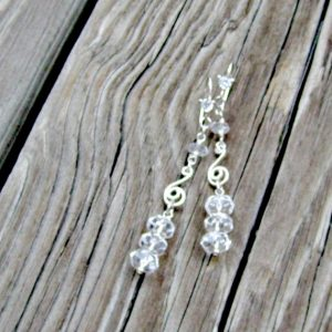 Clear Crystal Quartz Earrings – Wedding Jewelry – Gemstone Jewellery – Bride – Icicle – Luxe – Couture | Natural genuine Gemstone earrings. Buy handcrafted artisan wedding jewelry.  Unique handmade bridal jewelry gift ideas. #jewelry #beadedearrings #gift #crystaljewelry #shopping #handmadejewelry #wedding #bridal #earrings #affiliate #ad