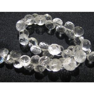 Shop Quartz Crystal Faceted Beads! Quartz Crystal, Faceted Gemstones, Onion Briolette, Faceted Gemstones, 8x8mm, 50 Pieces, 8 Inch Strand | Natural genuine gemstone beads for making jewelry in various shapes & sizes. Buy crystal beads raw cut or polished for making handmade homemade handcrafted jewelry. #jewelry #beads #beadedjewelry #product #diy #diyjewelry #shopping #craft #product
