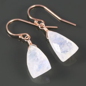 Rainbow Moonstone Earrings. Rose Gold Filled Ear Wires. Unique Triangle Shape. Genuine Moonstone. June Birthstone. F16e063