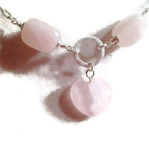 Pink Necklace – Rose Quartz Gemstone Jewellery – Sterling Silver Jewelry – Fashion – Chain – Heart Pendant – Chic