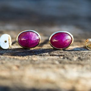 14k Yellow Gold Natural Ruby Stud Earrings – Natural Ruby –  14k Yellow Gold Natural Ruby Earrings  –  14k Yellow Gold Natural Ruby Studs