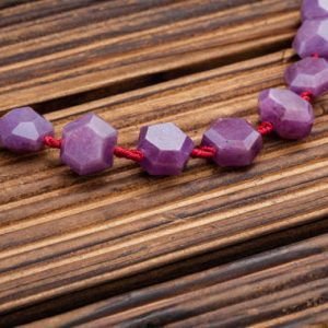 Shop Ruby Faceted Beads! Ruby Corundum faceted hexagon beads (ETB00917) Unique jewelry/Vintage jewelry/Gemstone necklace | Natural genuine faceted Ruby beads for beading and jewelry making.  #jewelry #beads #beadedjewelry #diyjewelry #jewelrymaking #beadstore #beading #affiliate #ad