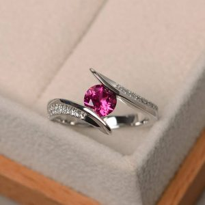 Ruby Promise Ring, Ruby Ring, July Birthstone Ring, Sterling Silver Ring, Red Gemstone Ring, Round Cut Gemstone