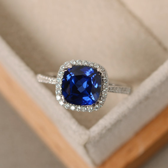 Sapphire Ring, Cushion Cut Engagement Ring, Solid Whitle Gold , Halo Ring, September Birthstone, Gifts For Women