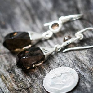Smoky Quartz Dangle Earrings, Smoky Quartz, Stunning Smoky Quartz Checkerboard Smoky Quartz Earrings – Smoky Quartz Dangle Earrings – Dangle