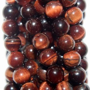 "Shop Tiger Eye Round Beads! Genuine Red Tiger eye Beads – Round 6 mm Gemstone Beads – Full Strand 15 1/2"", 63 beads, AA Quality 